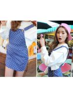 KOREAN STYLENANDA RETRO POLKA DOT STRAP DENIM DRESS - ชุดเอี๋ยม เดรสกระโปรงยีนส์ สีน้ำเงินลายจุดสีขาว สไตล์งานแบรนด์เกาหลี STYLENANDA สินค้านำเข้าอย่างดี