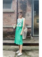 WOMEN SPORTS CASUAL SLEEVELESS DRESS - เดรสแขนกุด สีเขียว เเนวสปอร์ต งานเกาหลี พร้อมส่ง