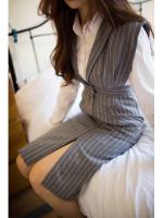 KOREAN PARTYSU STRIPED WOOLEN STRAP DRESS เสื้อผ้าผู้หญิงนำเข้าพร้อมส่ง ชุดเดรสเกาหลี ชุดทำงานเกาหลี สีเทา ไซส์ M พร้อมส่ง งานเกาหลี