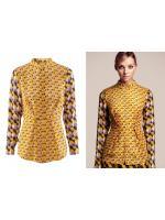 H&M GEOMETRIC PRINT VINTAGE BLOUSES - เสื้อเเขนยาวคอจีน H&M สีเหลืองลาย GEOMETRIC