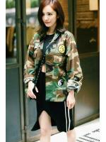 KOREAN CAMOUFLAGE JACKET เสื้อผ้าผู้หญิง แฟชั่นเกาหลี เสื้อคลุมลายทหาร เเจ็คเก็ตลายทหาร พร้อมส่ง