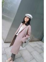 KOREAN NUDE PINK WOOLEN COAT JACKET OVERCOAT เสื้อผ้าผู้หญิงนำเข้าพร้อมส่ง เสื้อโค้ด เสื้อคลุม เสื้อกันหนาว เเจ็คเก็ตตัวยาว เสื้อคลุมไปต่างประเทศ สีชมพูนู้ด งานเกาหลี พร้อมส่ง (Made in Korea)