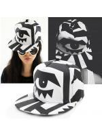 BLACK & WHITE BIG EYES PRINTED HIP-HOP CAP/ BASEBALL HAT - หมวกแก็ปสีขาว ลายตาสีดำ แบบ G-DRAGON ทรงเบสบอลแค็ป สินค้านำเข้าอย่างดี สินค้านำเข้าอย่างดี
