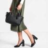 กระเป๋าถือหรือสะพาย CHARLES & KEITH TRAPEZE TOP HANDLE BAG ใบใหญ่ หนังsaffiano อยู่ทรง สีดำ