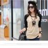 เสื้อเชิ้ตแขนยาวเวอร์ชั่นเกาหลี สีกากีแขนดำ