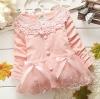 เสื้อกันหนาวเด็กเล็ก สีชมพู คอถักลายดอกไม้น่ารัก สำหรับเด็กวัย 1-3 ปี