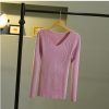 เสื้อยืดแขนยาว คอวี(สีม่วง)