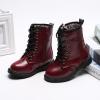 รองเท้าบู๊ทเด็ก สีแดงเบอร์กันดี ผูกเชือกหลอก มีซิปข้าง เท่ห์ หรู Size 27-37