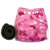 กางเกงผ้าอ้อม PUL +แผ่นซับชาโคล Butterfly Pink