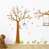 สติกเกอร์แต่งห้อง DIY การ์ตูนรูปนก กระรอก และต้นไม้ ขนาดใหญ่ ติดผนัง ลอกออกแล้วติดซ้ำได้