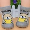 รองเท้าถุงเท้าพื้นยางหัดเดิน สีเทาลายหมี size 20-25