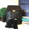 กระเป๋า Zara quiltid tassel backpack 2016 กระเป๋าสะพายทรงเป้หนังนิ่มสวย ลายตารางสีดำ