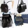 กระเป๋า ZARA Detail Backpack วัสดุหนังเรียบสีดำ