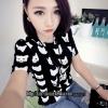 เสื้อยืดแฟชั่น(Cat T-shirt) สไตล์เกาหลี ลายขาวดำ