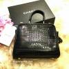 กระเป๋า Zara mini city bag with double closure 2016 กระเป๋าถือหรือสะพายลายหนังจระเข้สีดำ ตัดอะไหล่สีทองหรูสไตล์ FENDI