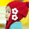 หมวกไหมพรมถัก กันหนาว ติดดอกไม้น่ารัก มีสายปอมปอมปิดหู