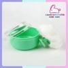 กระปุกแป้งตลับแป้งเด็ก ลายหัวใจ สีเขียว