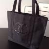 กระเป๋า CHANEL VIP Black Microfiber/Nylon Tote Bag w/XL Sequined CC's ราคา 990 บาท Free Ems