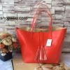 กระเป๋า MNG Shopper bag สีแดง กระเป๋าหนัง เชือกหนังผูกห้วยด้วยพู่เก๋ๆ!! จัดทรงได้ 2 แบบ