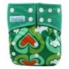 กางเกงผ้าอ้อมกันน้ำ สีเขียวลายหัวใจ
