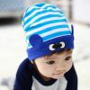 HT436••หมวกเด็ก•• / หมวกบีนนี่-ดวงตา (สีฟ้า/ขอบน้ำเงิน)
