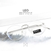 กรอบแว่น LEO - white silver กรอบโลหะ ทรงกลม กว้าง 130 มม. (size S)