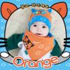 AP149••เซตหมวก+ผ้ากันเปื้อน•• / [สีส้ม] แมวเหมียว+ปลา