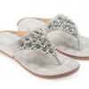 รองเท้าแตะหูหนีบไซส์ใหญ่ Desy Flower สีเทา KR0256