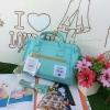กระเป๋าเป้ Anello Canvas 2 Way Mini Boston Bag Mint เป้ผ้าใบ สะพายข้างลำตัว