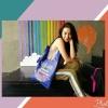 กระเป๋าถือสะพาย ทรงtote แบบมีสไตล์ เรโทร คลาสสิก The Lucky bag Blue color ส่งฟรี ems