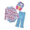 เซตเสื้อผ้าเด็ก Cuddle me บอดี้สูทแขนยาว+กางเกงขายาว+ผ้ากันเปื้อน ลายหัวใจ+ผีเสื้อน้อย