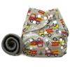 กางเกงผ้าอ้อม PUL +แผ่นซับชาโคล รถดับเพลิง/เทา