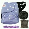 กางเกงผ้าอ้อมชาโคลขอบปกป้อง-สีพื้น แถมแผ่นซับชาโคล5ชั้น Light Purple