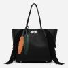 CHARLES & KEITH OVERSIZED TURN-LOCK TOTEBAG กระเป๋าสะพายทรงTOTE สีดำพู่
