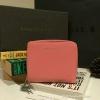 กระเป๋าสตางค์ CHARLES & KEITH Mini Wallet สีชมพู ใบสั้น สองพับ ซิปรอบ วัสดุหนังคาเวียร์ตัดหนัง Saffoano สวยหรูดูดี