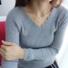 เสื้อแขนยาวคอวี สีเทา