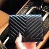 KEEP Chevron wallet bag กระเป๋าสตางค์ ใบสั้น สีดำ สามพับ หนังแกะแท้ ส่งฟรี ems