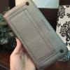 กระเป๋าสตางค์ใบยาว Charles & Keith Studded Front Pocket Wallet สีเทา ราคา 990 บาท Free Ems