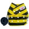 กางเกงผ้าอ้อม PUL +แผ่นซับชาโคล ผึ้งเหลือง/ดำ