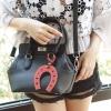 กระเป๋าแฟชั่น Toolbox Leather For Lady Bag สีดำ ฟรีพวงกุญแจ ราคา 1,290 บาท Free Ems