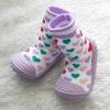 รองเท้าถุงเท้าพื้นยางหัดเดิน สีม่วงลายหัวใจ size 20-25