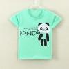 เสื้อยืดเด็กเล็กสีเขียว Panda มีกระดุมข้างคอ สำหรับเด็กวัย 1-4 ปี