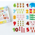 ของเล่นชุดสอนนับเลขไม้สวนสัตว์ Arithmetic Digital Card
