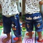 กางเกงยีนส์เด็ก ขา 4 ส่วน Mickey ใส่สบาย วัย 2-4 ปี
