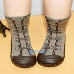 รองเท้าถุงเท้าพื้นยางหัดเดิน สีน้ำตาลลายรองเท้า size 20-25