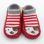 ถุงเท้ารองเท้า มีกันลื่น เนื้อผ้านุ่มนิ่ม ลายสุนัขสีแดงริ้ว สำหรับเด็กวัย 6-12m/12-18m