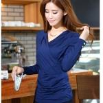 เสื้อแขนยาวคอวี Shirring(สีน้ำเงิน)