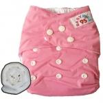 กางเกงผ้าอ้อมกันน้ำ+แผ่นซับไมโครฯหนา3ชั้น Size 3-16 kg.-Light Pink
