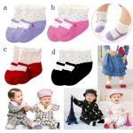 ถุงเท้าเด็กอ่อน ลายรองเท้า มีกันลื่น สำหรับเด็ก 6 - 18 เดือน