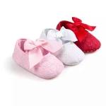 รองเท้าเด็กอ่อนโบว์ใหญ่ พื้นกันลื่น วัย 0-18 เดือน มีสีชมพู/แดง